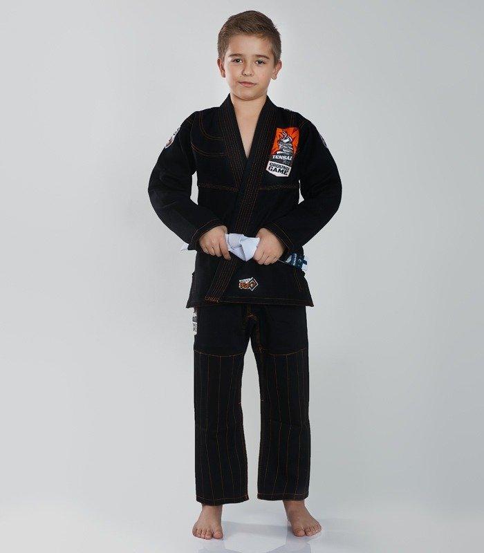 """Dětské kimono Gi BJJ  Ground Game """"Tensai"""" (Černé) + pásek ZDARMA"""