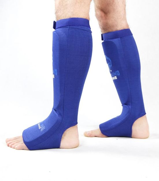 """Elastic Shin Guards """"Knockout Game"""" Blue"""
