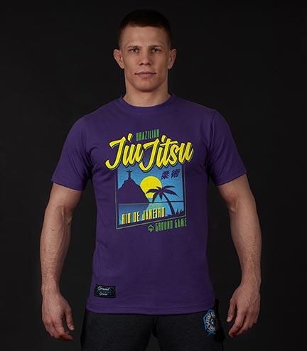 "T-shirt ""BJJ Sunset"" Fioletowy"